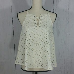NWT Altar'd State Ivory Eyelet Lace Front Tank